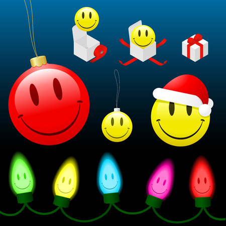 Christmas smiley face cartoon collection  Vector