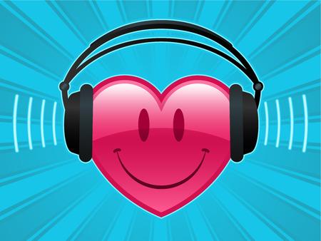 Smiley heart with headphones - vector Vector