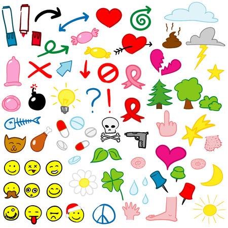 icon set - doodle - vector Stock Vector - 3893736