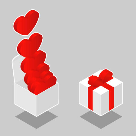 Isometric hearts in box - vector Stock Vector - 3893730