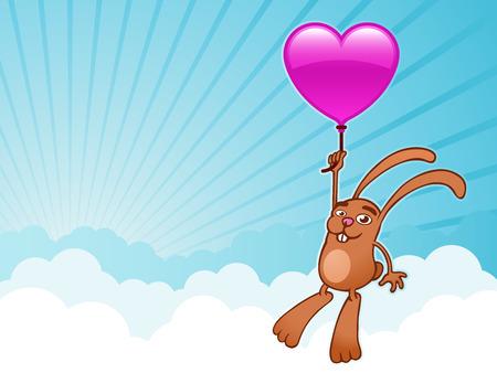 Bunny with heart balloon background - vector Vector