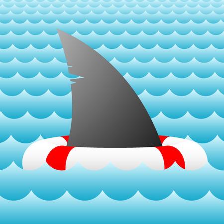 Shark fin life buoy - vector - easy to edit Vector