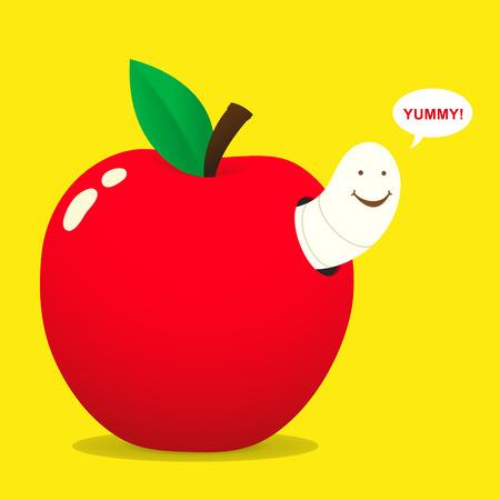 gusano caricatura: gusano y la manzana - vector