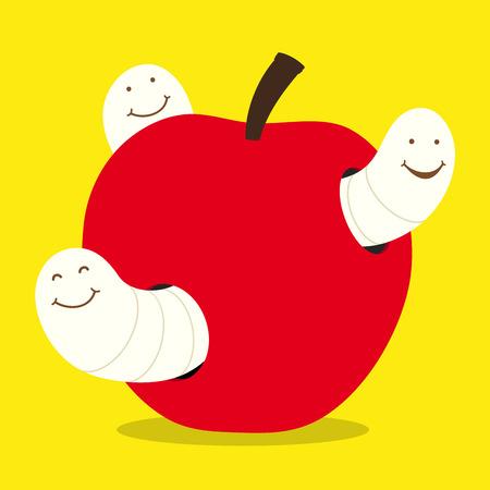 maggots and apple - vector Stock Vector - 3893704