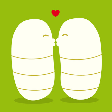 maggots kissing - vector Vector