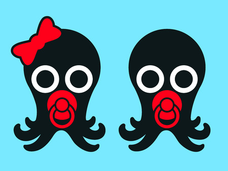 Two cute baby octopuses - vector Illustration