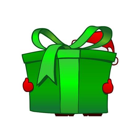 Santa with green parcel - vector Vector