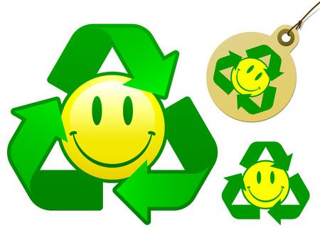 Recycling smiley face icon collection - vector Stock Vector - 3893726