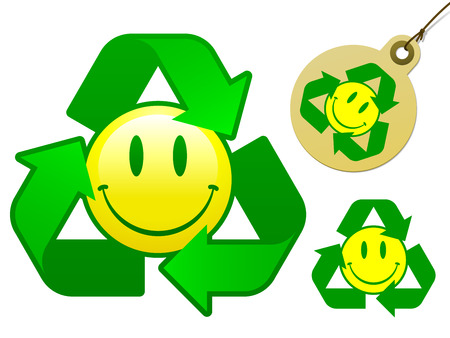 Recycling smiley face icon collection - vector Illustration