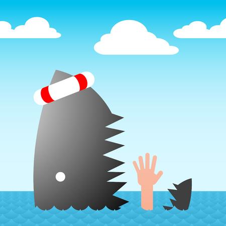 drowning: shark swallows drowning hand - vector