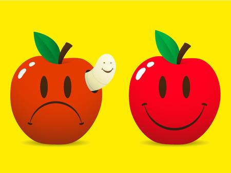 maggot: Happy smiley apple and sad apple with maggot  worm