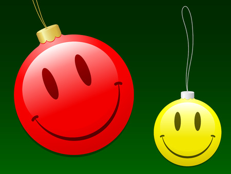 Smiley christmas baubles Vector