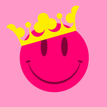 yellow crown: Pink smiley face with crown Illustration