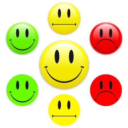 cara sonriente: Cara sonriente feliz  infeliz Vectores