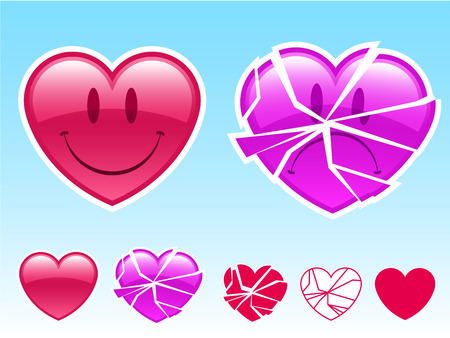 Happy smiley heart and sad broken heart  Stock Vector - 3937894