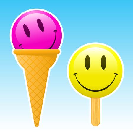 smiley ice cream  Vector