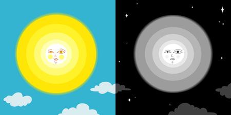 luna caricatura: Sol y la luna Vectores