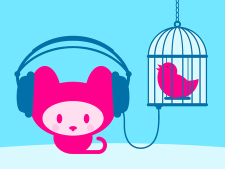 Cute kitten listening to singing bird  Stock Vector - 4009886