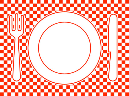 dinnerware: Plate, fork, knife - dinnerware Illustration