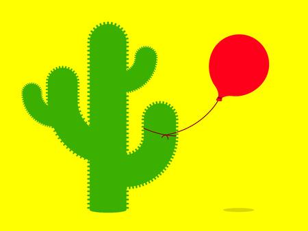 Cactus with balloon  Vector