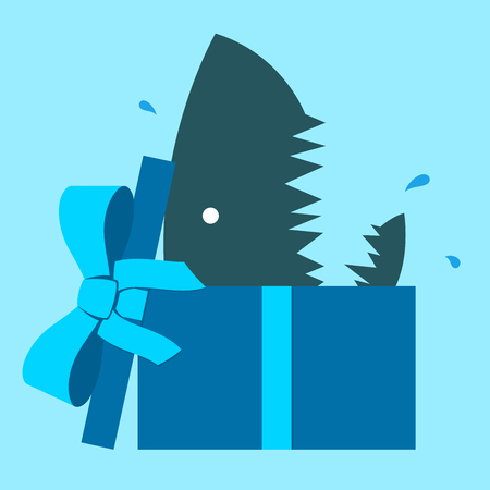 Shark head emerging out of a parcel  Vector