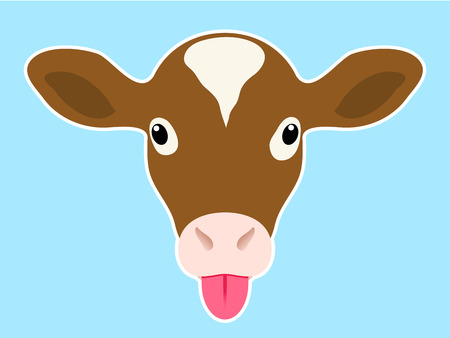 Calf head sticking out tongue Stock Vector - 4076810