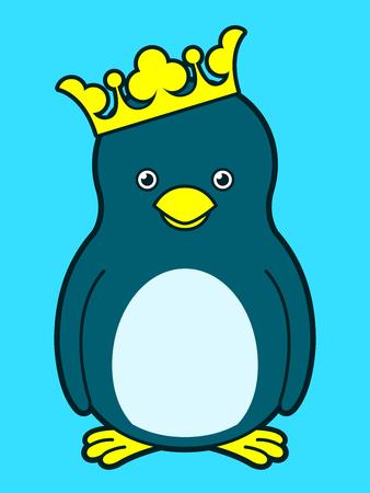Cute king penguin wearing crown Vector