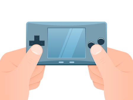 Hands holding portable games console Stock Vector - 4303038