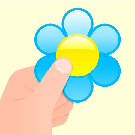 Hand holding a flower Vector