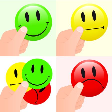 indifferent: Collection of hands holding smiley faces Illustration