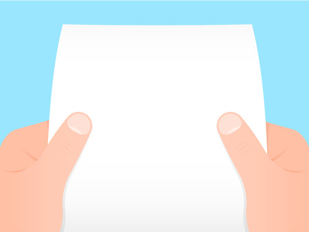 Two hands holding a blank sheet of paper  Vector