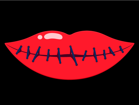 Sewn up female lips Stock Vector - 4303034