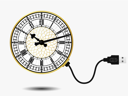 Big ben clock with USB cable Stock Vector - 4369622