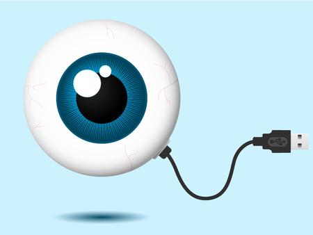 usb kabel: Eyeball mit USB-Kabel