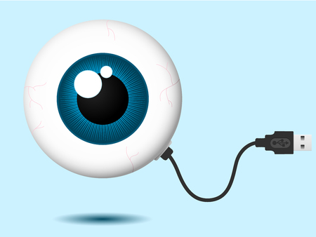 computer cable: Eyeball with USB cable Illustration