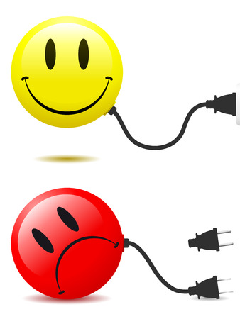 unplugged: Happy and unhappy smiley face with connector plug Illustration