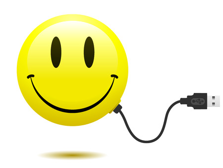 smiley face cartoon: Smiley face with USB cable