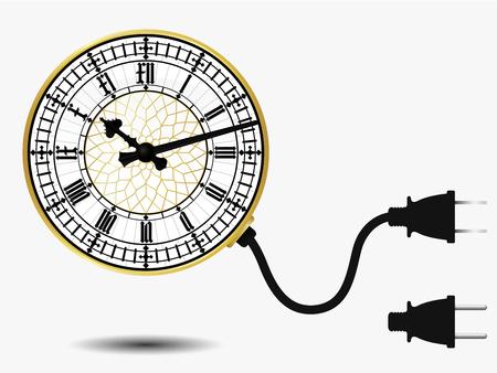 Big ben clock with connector plug Vector