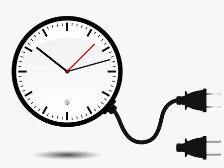 office clock: Reloj de la oficina de pared con enchufe