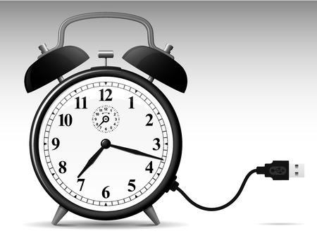 Classic alarmclock with USB cable Stock Vector - 4467902