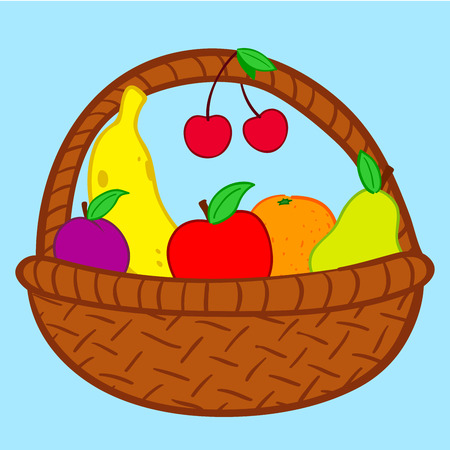 Fruits in basket doodle Vector