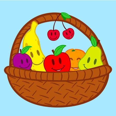 canasta de frutas: Cesta de frutas en la cara sonrisa garabato Vectores