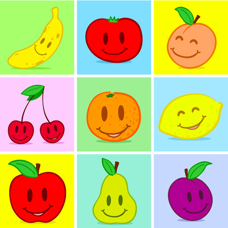Fruits doodle face smile Vector