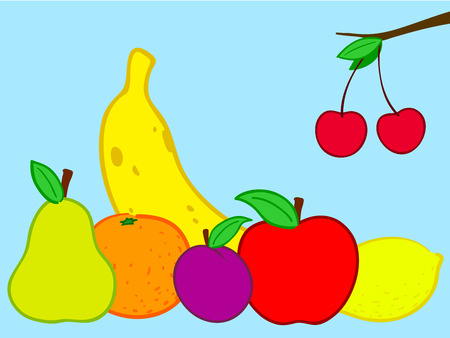 Fruits still life doodle Vector