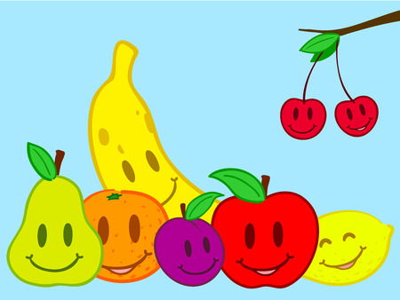 Fruits still life doodle face Vector