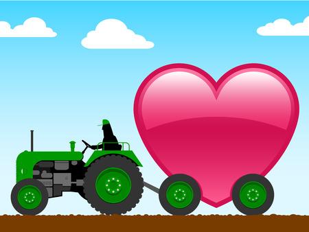 old tractor: Trekker met groot hart Stock Illustratie