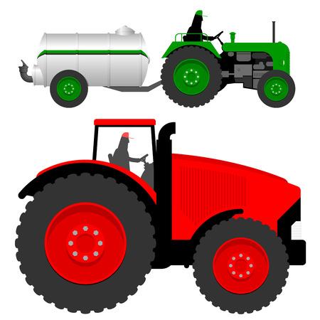 old tractor: Twee tractoren met vloeibare mest tanker