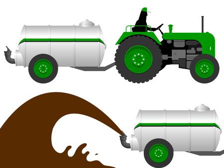 old tractor: Tractor met vloeibare mest tanker