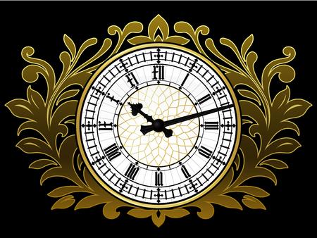 Ancient clock with golden wreath Vector