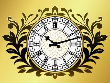 big ben tower: Big ben clock with wreath Illustration